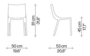 Bo sedia Driade - dimensioni