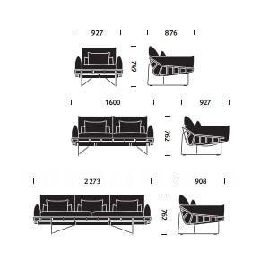 Wireframe divano . dimensioni