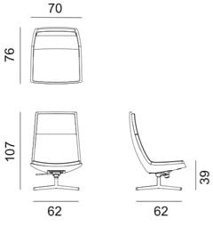 Arper Catifa70 Soft lounge - dimensioni