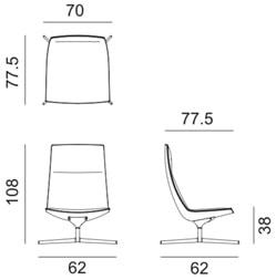 Arper Catifa70 lounge - dimensioni