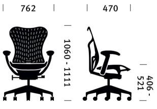 Herman Miller Mirra sedia ufficio - dimensioni