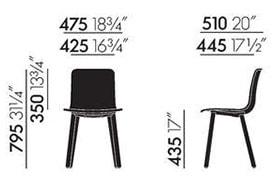 Vitra HAL Wood sedia - dimensioni