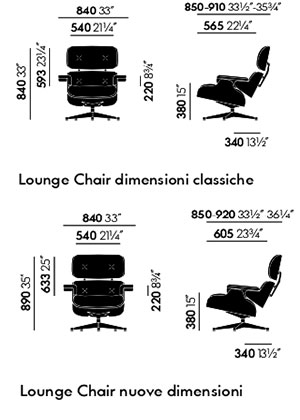 VITRA Lounge Chair dimensioni