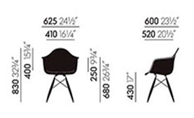 Eames Plastic Armchair DAW - dimensioni