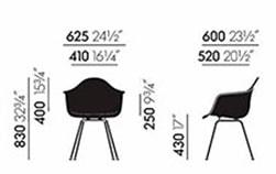 Eames Plastic Armchair DAX poltroncina - dimensioni