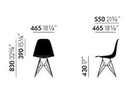 Vitra Eames Plastic Side Chair DSR - dimensioni