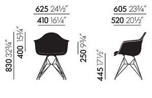 Eames Plastic Armchair DAR - dimensioni