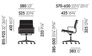 Vitra Soft Pad Chairs EA 217 poltrona ufficio - dimensioni