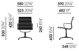 Vitra Aluminium Chairs EA 107 108 - dimensioni