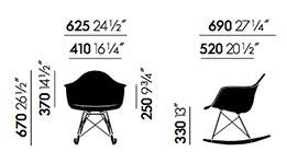 Vitra Eames Plastic Armchair RAR - dimensioni
