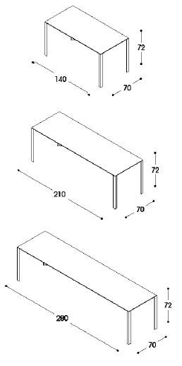 LessLess tavolo direzionale - dimensioni