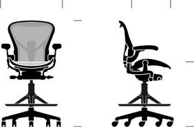 Sgabello Aeron - seduta alta Herman Miller dimensioni