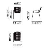Vitra Landi sedia - dimensioni