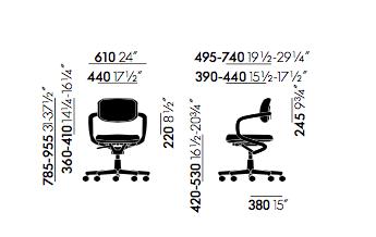 Allstar sedia girevole - dimensioni