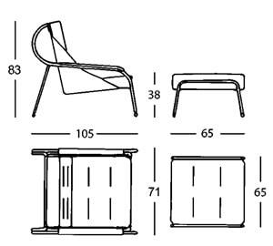 Maggiolina chaise longue - dimensioni