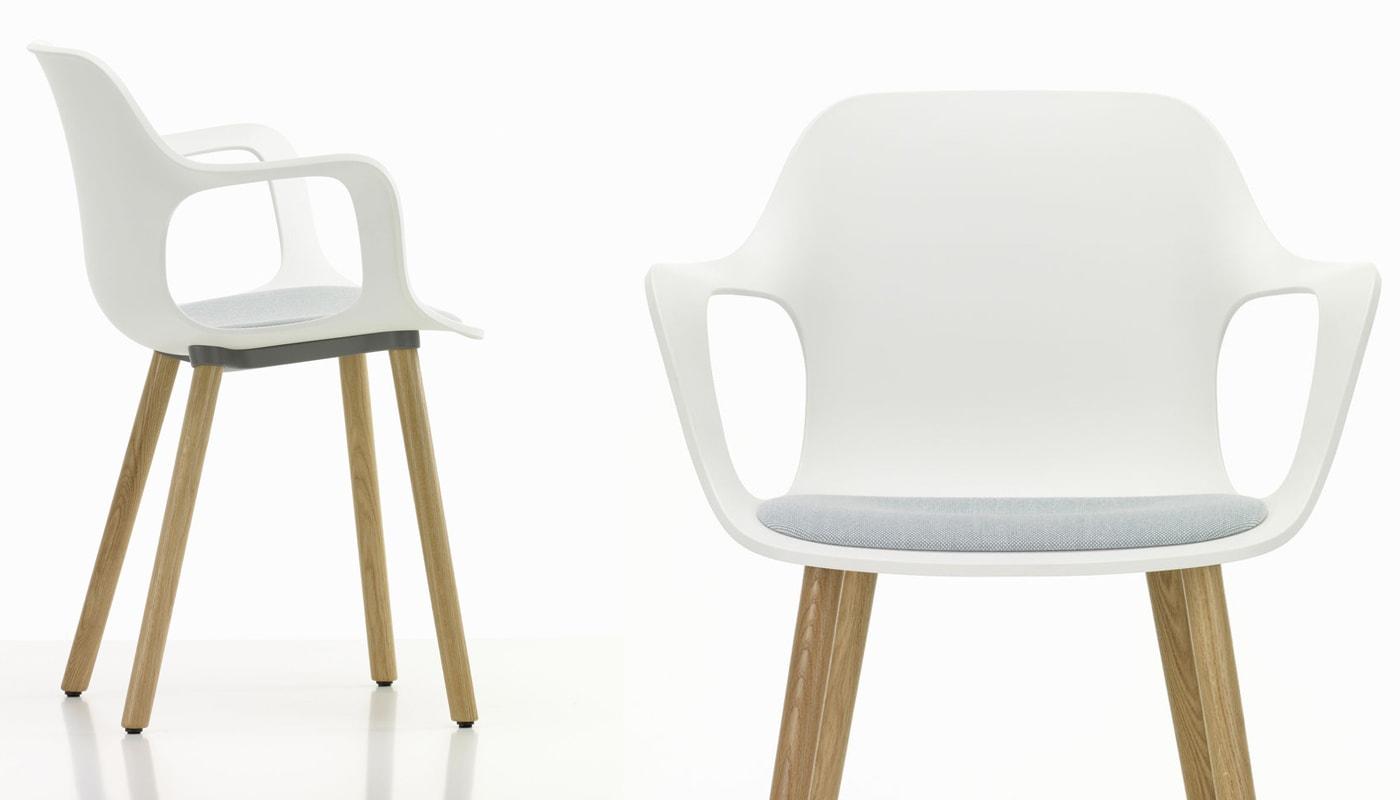 HAL Armchair Wood sedia sedile rivestito