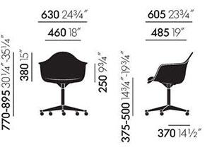 Eames Plastic Armchair PACC poltroncina - dimensioni