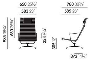 Aluminium Chair EA 124 Vitra . dimensioni