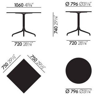 Belleville tavoli - dimensioni
