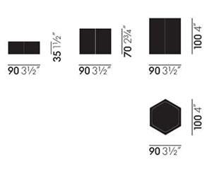 Vitra Hexagonal Containers set - dimensioni
