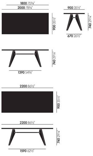 Vitra Solvay tavolo - dimensioni