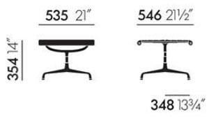 Vitra Aluminium Chair EA 125 ottoman - dimensioni