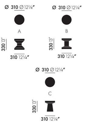 tavolini Cork Family - dimensioni