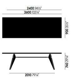 Vitra EM Table tavolo - dimensioni