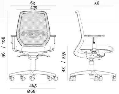 Smart sedia ufficio Della Chiara - dimensioni