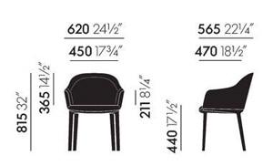 Vitra Softshell Chair sedia 4 gambe - dimensioni