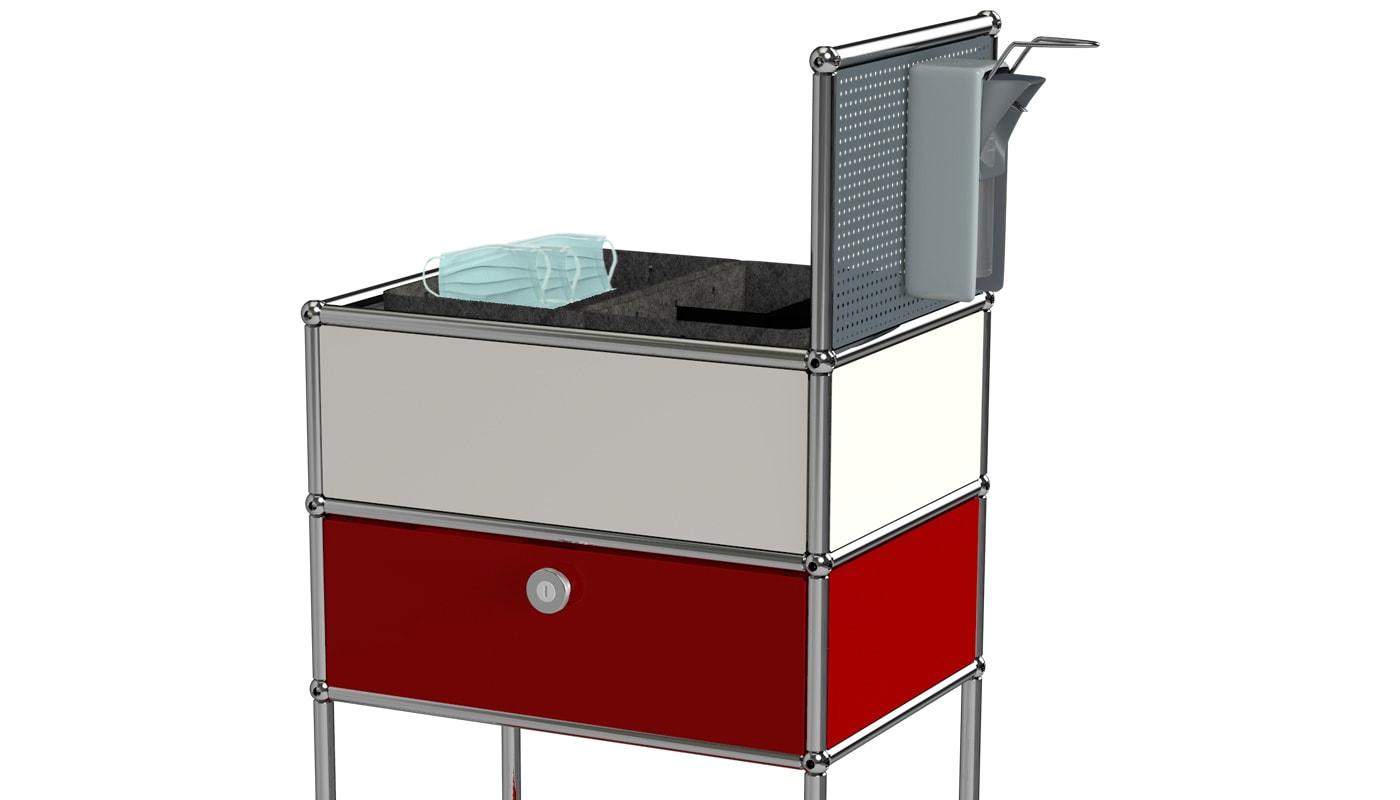 USM Safe Cart carrello ruote igiene ufficio dettaglio 2