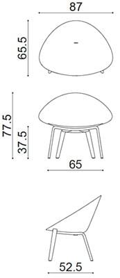Arper Adell poltroncina gambe in legno - dimensioni