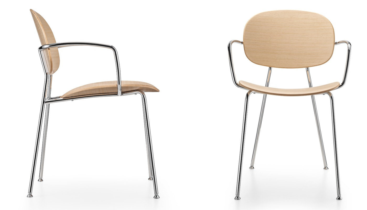 INFINITI Tondina 4Legs sedia scocca legno gallery 2