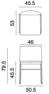 Arper sedia Stacy - dimensioni