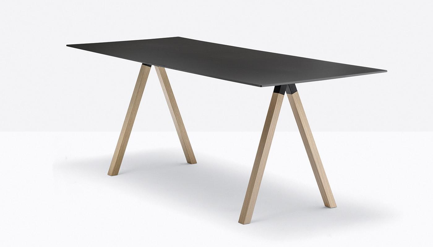 Pedrali Arki Desk tavolo gambe legno - gallery