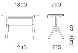 Pedrali ArkiDesk regolabile dimensioni