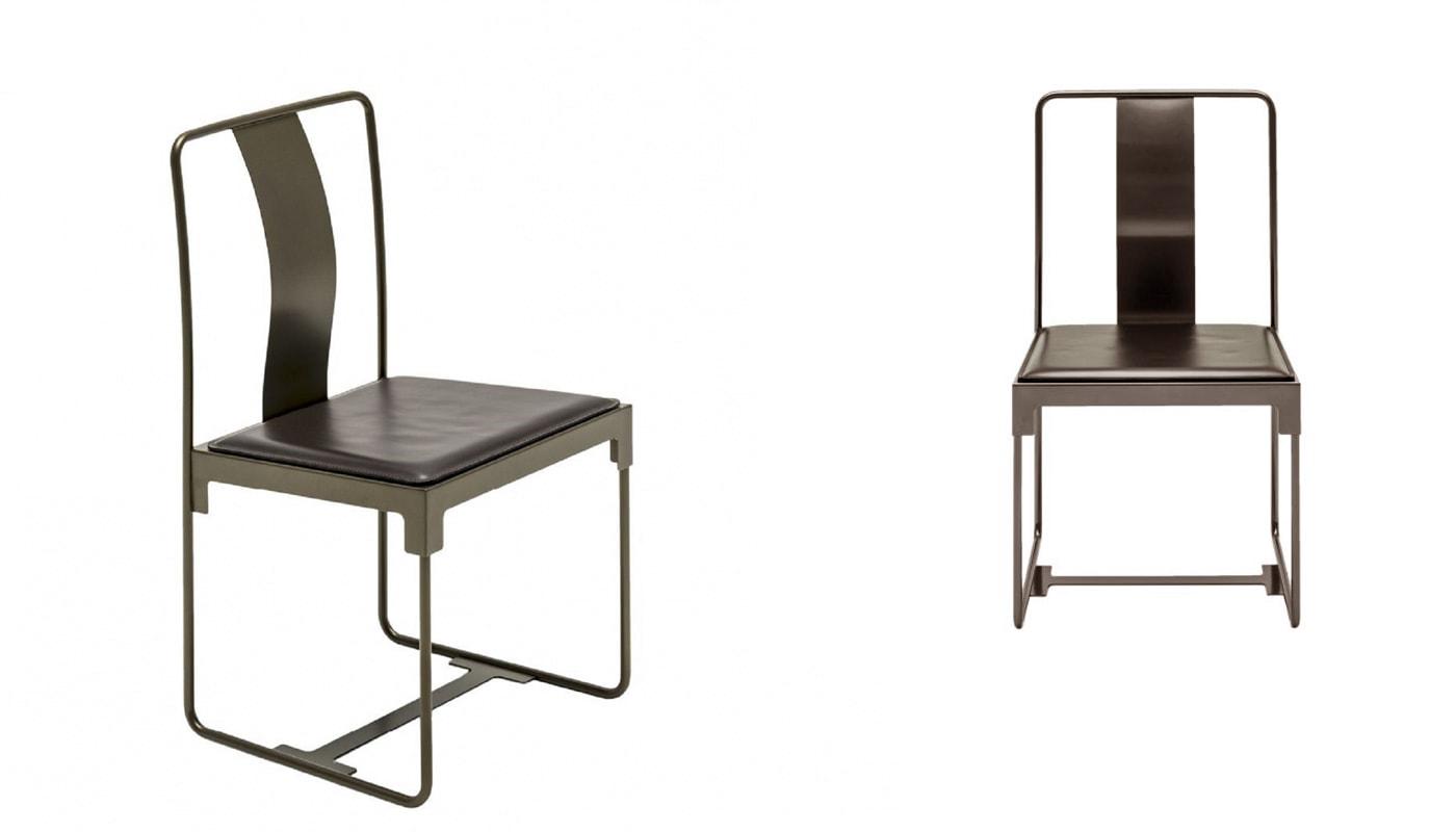 Driade Mingx sedia in acciaio e cuoio - gallery 2
