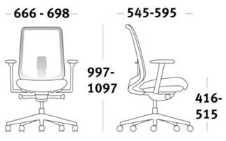 Herman Miller Verus sedia per ufficio dimensioni