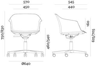 Aurora sedia riunioni base 5 razze - dimensioni