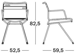Zanotta Dan 2058 sedia - dimensioni